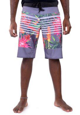 Bermuda-Banho-Floral-Tropical-Cinza