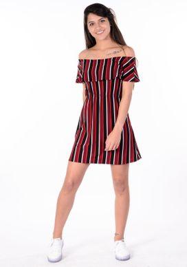 Vestido-Babado-Listras-Vermelho-e-Preto
