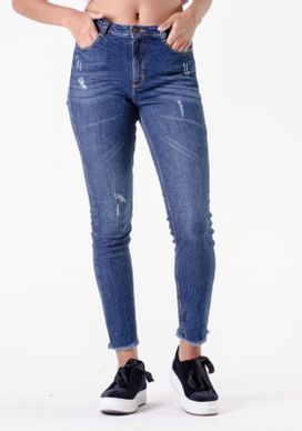 Calca-Jeans-Cigarrete-Cintura-Media-Escuro-Puidos