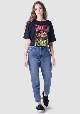 Calça Jeans Mom Retro Cintura Alta Azul Médio