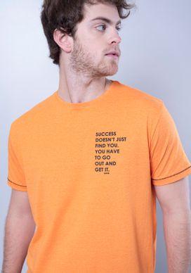 Camiseta-Manga-Curta-Laranja-Linha-Contrastante-Escrita