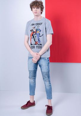 Camiseta-Coringa-e-Arlequina-Cinza-Mescla