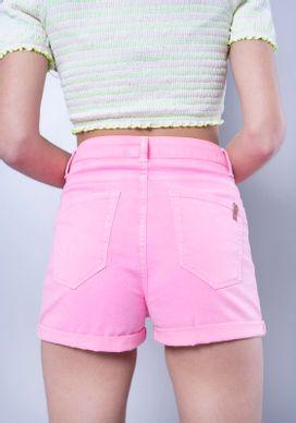 Short-Jeans-Cintura-Alta-Rosa-Neon