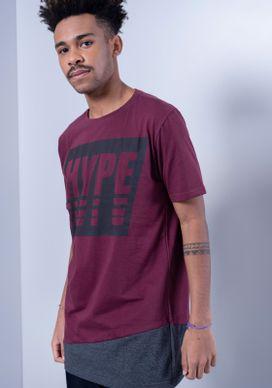 Camiseta-Alongada-Hype-Vinho