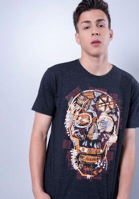Camiseta-Estampada-Manga-Curta-Caveira-Tribal-