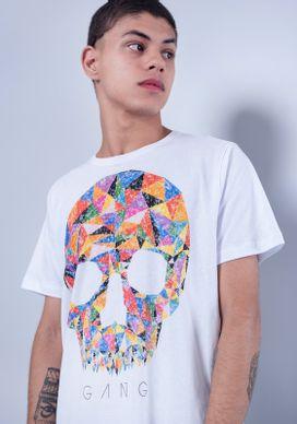 Camiseta-Estampada-Manga-Curta-Caveira-Colorida-Geometrica