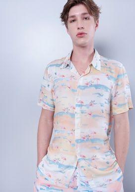 Conjunto-Camisa-Estampada-Flamingos-e-Short-de-Banho