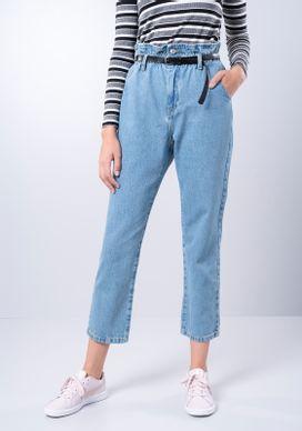 Calca-Jeans-Clochard-Retro-Com-Cinto-Azul-Medio-Gang-Feminina