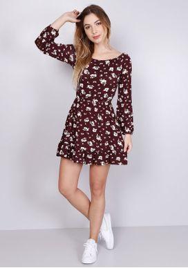 Vestido-Floral-Vinho