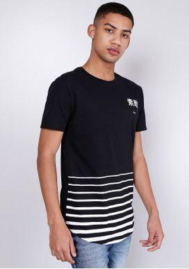 Camiseta-Alongada-Listras-e-Ideograma-Peito-Preto-PP