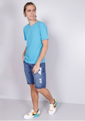 Camiseta-Basica-Gola-V---Azul-Turquesa-Azul-PP