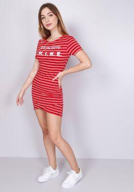 Vestido-Ajustado-Listras-Vermelho-Rosa-Shine-Vermelho-PP