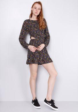 Vestido-Manga-Longa-Abertura-Lateral-Floral-Preto-PP
