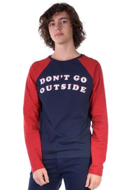 Camiseta-Manga-Longa-Dont-Go-Outside-Azul-P-