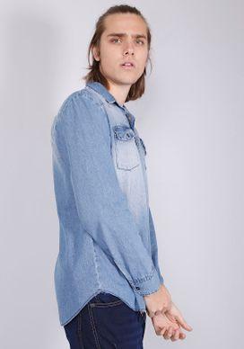 Camisa-Jeans-Manga-Longa-Respingos-Detonados-Azul-Gang-Masculina-Azul-P