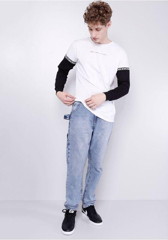 Camiseta-Branca-Faixa-Nas-Mangas-Branco-PP