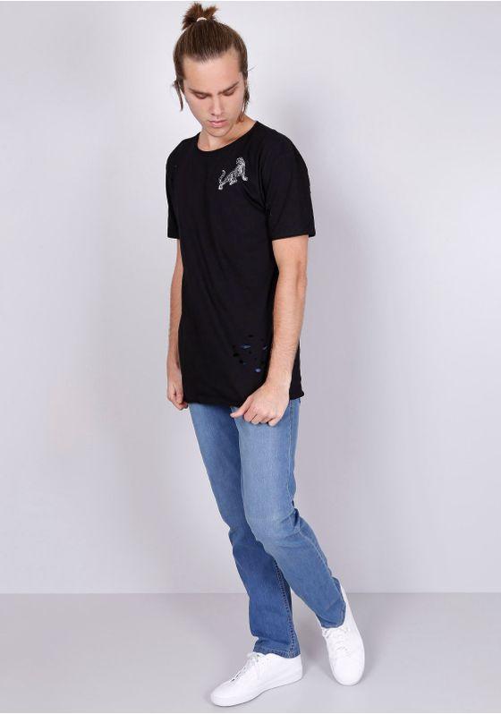 Camiseta-Manga-Curta-Alongada-Preta-Com-Bordado-Preto-PP