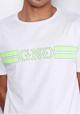Camiseta-Manga-Curta-GNG-Verde-Neon-Branco-XG