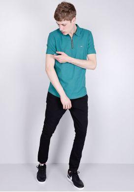 Camisa-Polo-Manga-Curta-Com-Ziper-Verde-Petroleo-Gang-Masculina-Verde-PP