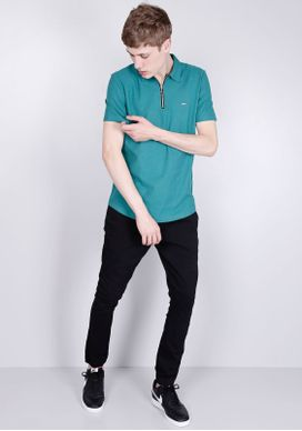 Camisa-Polo-Manga-Curta-Com-Ziper-Verde-Petroleo-Gang-Masculina-Verde-P