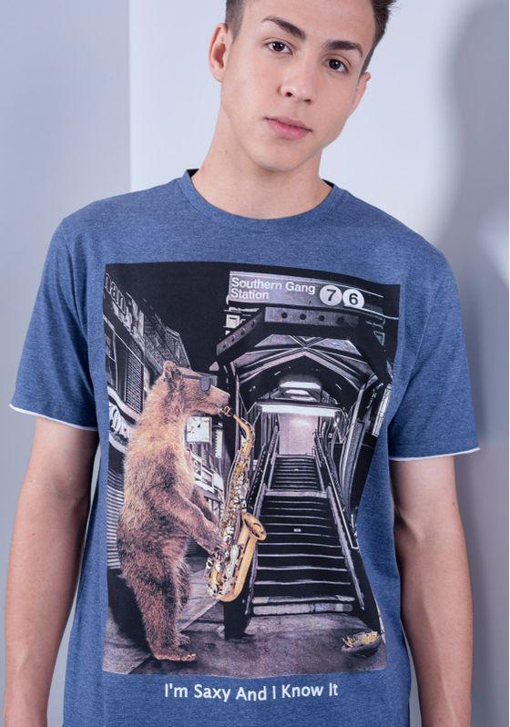 Camiseta-Estampada-Manga-Curta-Urso-Saxofone-Marinho-PP