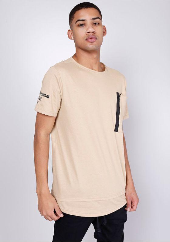 Camiseta-Estampada-Manga-Curta-Barra-Dupla-Ziper-Caqui-Gang-Masculina-Marrom-PP