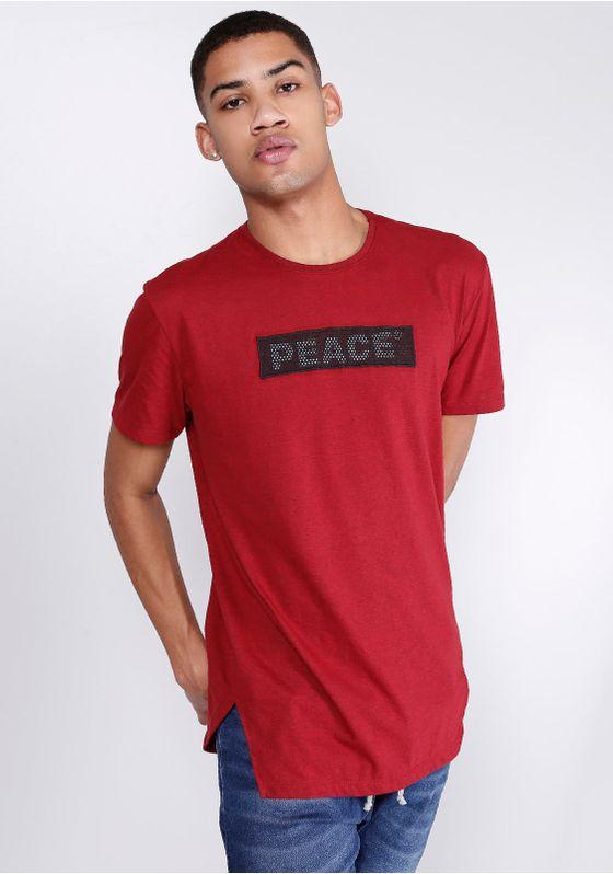 Camiseta-Alongada-Estampada-Manga-Curta-Peace-Vinho-Gang-Masculina-Bordo-PP