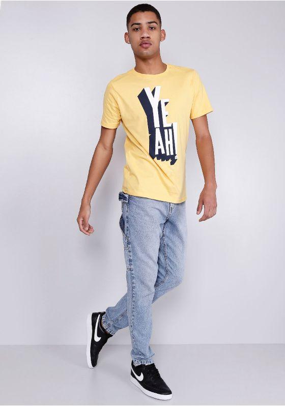 Camiseta-Estampada-Yeah-Manga-Curta-Amarela-Gang-Masculina-Amarelo-GG