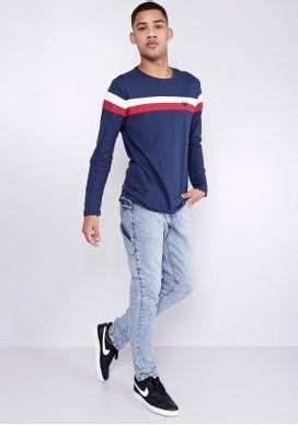 Camiseta-Estampada-Manga-Longa-Listras-Azul-Marinho-Gang-Masculino-Marinho-PP