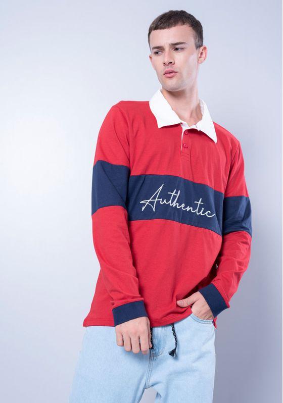 Camisa-Polo-Estampada-Manga-Longa-Vermelha-Gang-Masculina-Vermelho-P-