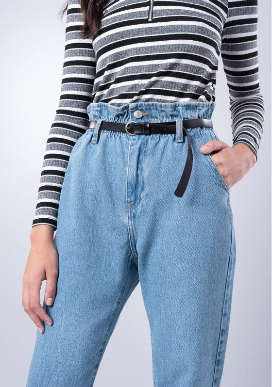 Calca-Jeans-Clochard-Retro-Com-Cinto-Azul-Medio-Gang-Feminina-Azul-40