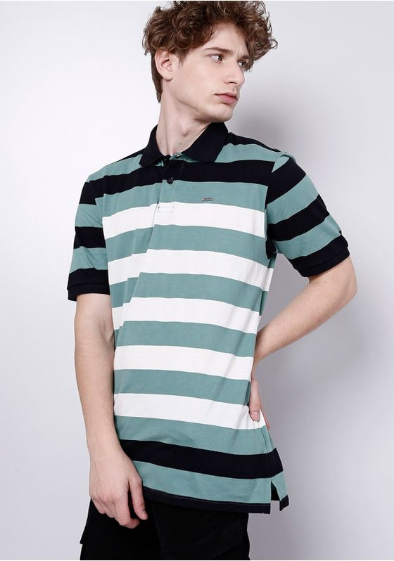 Camisa-Polo-Manga-Curta-Verde-Listrada-Gang-Masculina-Verde-G-