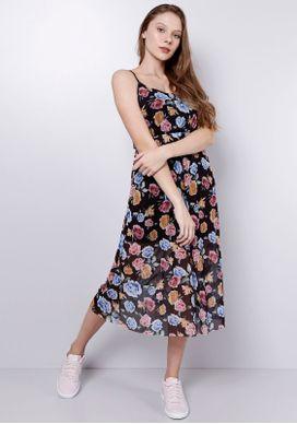 Vestido-Midi-Floral-Preto-Gang-Feminino-Preto-G-