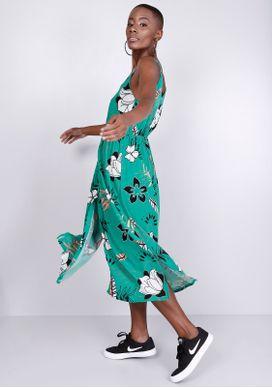 Vestido-Midi-Verde-Floral-Gang-Feminino-Verde-P