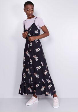 Vestido-Midi-Floral-Preto-Gang-Feminino-Preto-GG