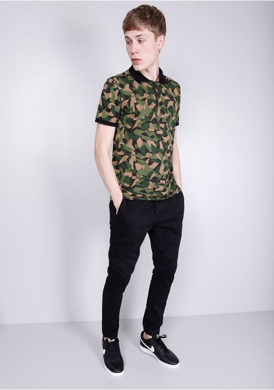 Camisa-Polo-Manga-Curta-Camuflada-Verde-Gang-Masculina-Verde-P