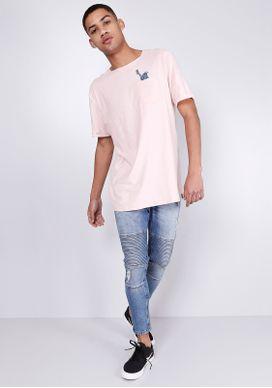 Camiseta-Estampada-Manga-Curta-Estatua-Liberdade-Rosa-Gang-Masculina