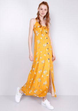 Vestido-Longo-Estampado-Floral-Mostarda-Gang-Feminino