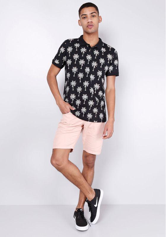 Camisa-Polo-Estampa-Coqueiros-Manga-Curta-Preta-Gang-Masculina