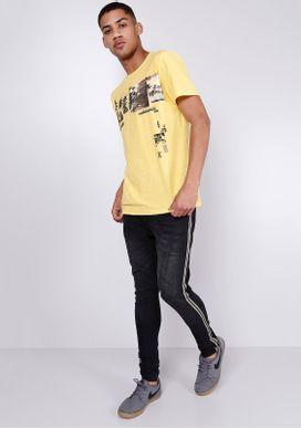 Camiseta-Estampada-Manga-Curta-Fotografia-Amarela-Gang-Masculina