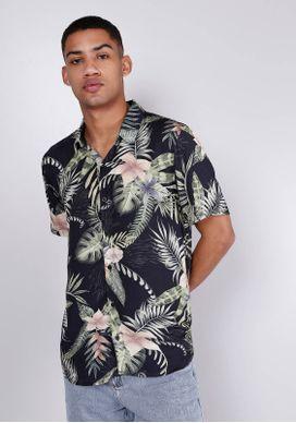 Camisa-Estampada-Manga-Curta-Folhas-Preta-Gang-Masculina