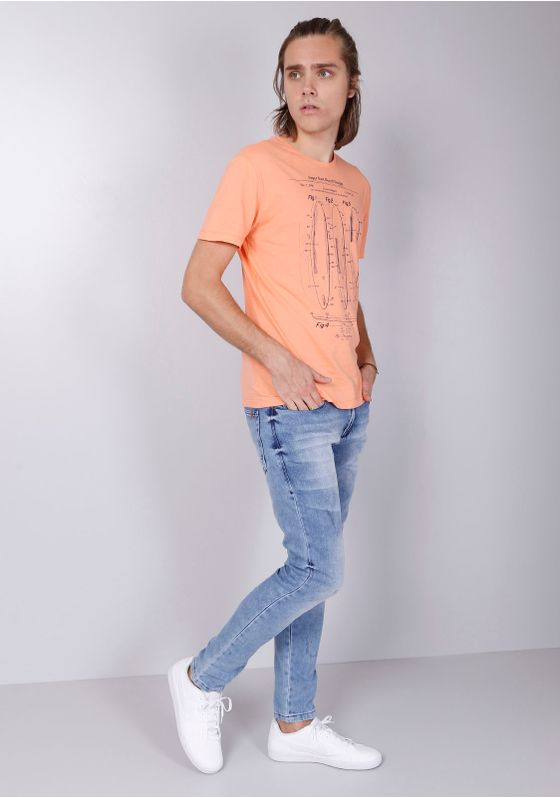 Camiseta-Estampada-Manga-Curta-Pranchas-Laranja-Gang-Masculina