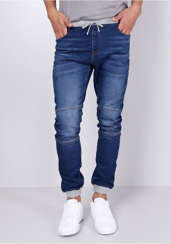 Calca-Jeans-Jogger-Detalhe-Moletom-Azul-Escuro-Gang-Masculino