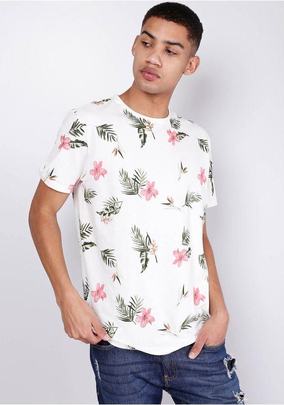 Camiseta-Estampada-Manga-Curta-Fullprint-Floral-Branca-Gang-Masculina