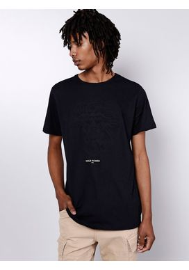 Camiseta-Manga-Curta-Preta-Embossing-Leao-Gang-Masculina