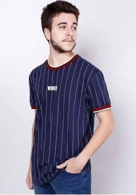 Camiseta-Manga-Curta-Baseball-Listrada-Azul-Gang-Masculina