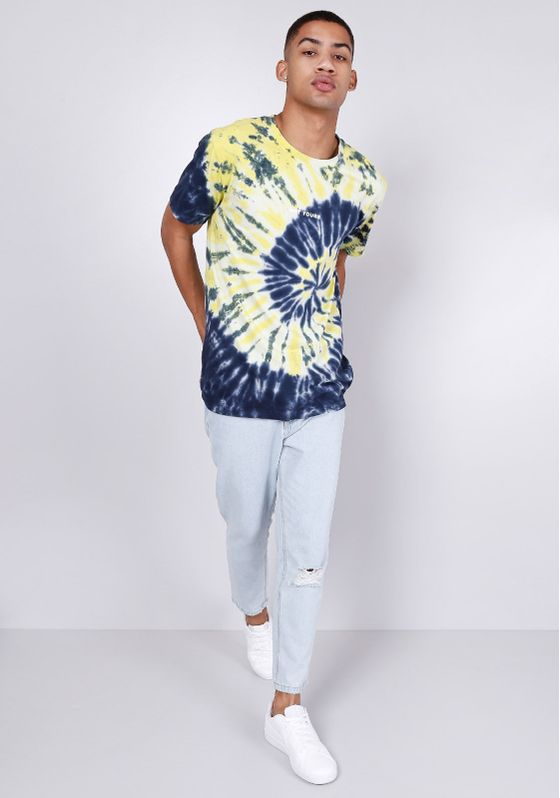 Camiseta-Estampada-Tie-Dye-Manga-Curta-Amarelo-E-Azul-Gang-Masculina