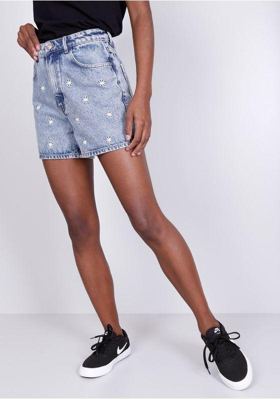 Short-Jeans-Cintura-Alta-Margaridas-Gang-Feminino