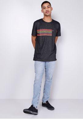 Camiseta-Manga-Curta-Listras-Coloridas-Cinza-G